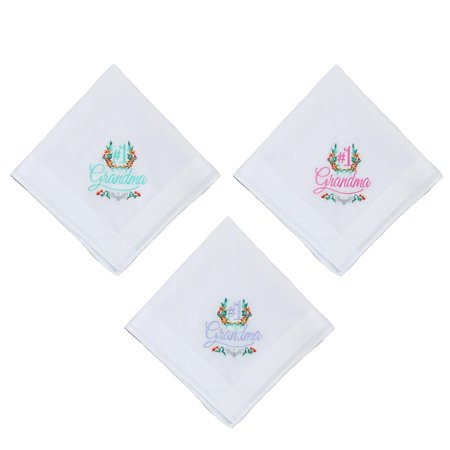 Parquet Women's Number 1 Grandma Embroidered Cotton Handkerchief Set (Pack of 3) - image 1 of 4
