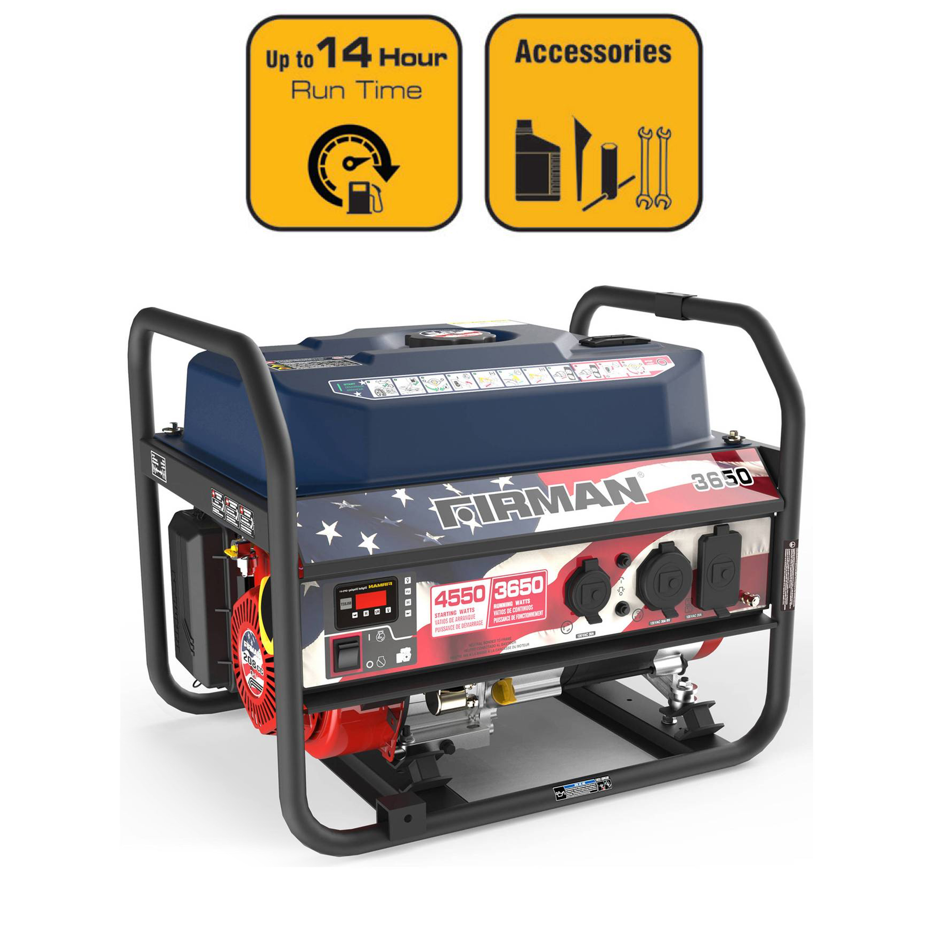 Firman P03611 4550/3650 Watt Gas Recoil Start Generator, EPA Only (Stars and Stripes)