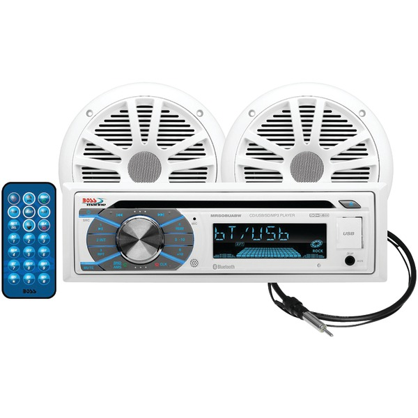 Brand New BOSS AUDIO MCK508WB.6 Marine Single-DIN In-Dash MP3-Compatible CD AM/FM Receiver with Bluetooth and 2 Speakers