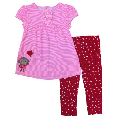 Carters Infant Girls Valentine Baby Outfit Pink Monkey Heart Shirt & Pants 24m (Valentines Carters Shirt)