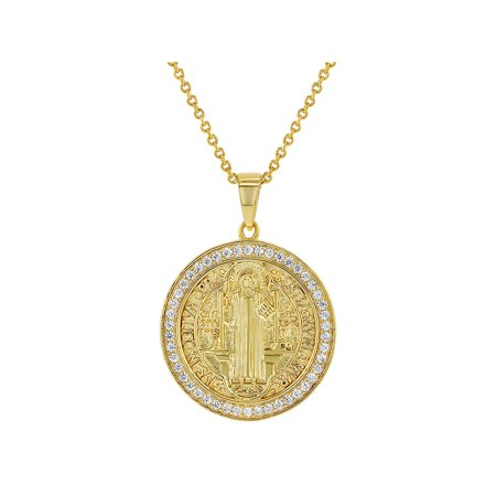 18k Gold Plated Clear CZ San Benito Saint Benedict Religious Medal Pendant