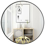 Gymax 27.5'' Modern Metal Wall-Mounted Round Mirror for Bathroom Entryway Black