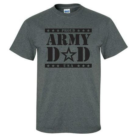 Proud ARMY Dad Short Sleeve T-Shirt in Dark Heather - Army Heather