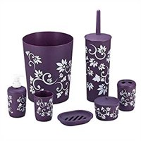 Product Image Durable 7 Piece Printed Bathroom Set In Purple