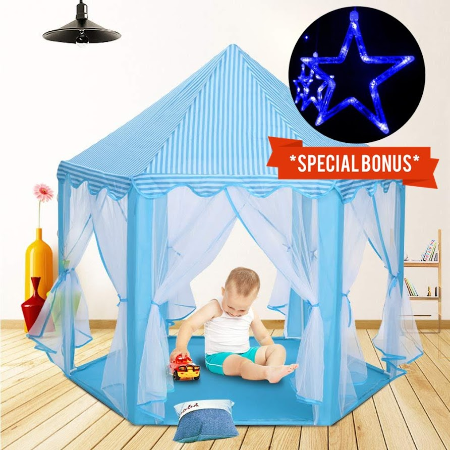 Princess Castle Kids Play Tent with Lights Large Children Playhouse for Girls Indoor Outdoor Use for Boys Girls w/ Zipper Storage Case