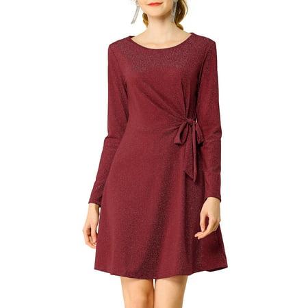 Allegra K Women's Elegant Twist Front Metallic Material Skater Dress L Red Twist Tank Dress
