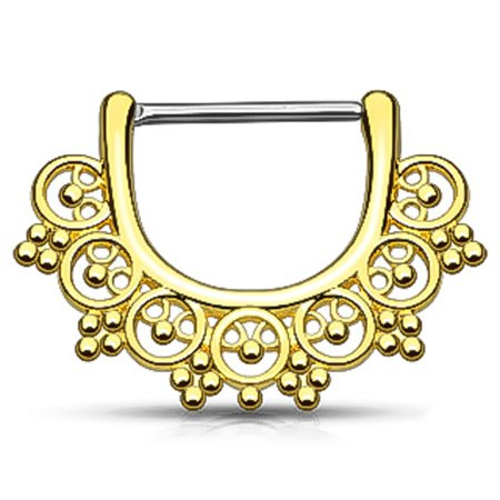 Tribal Fan 14K Gold Plated Surgical Steel Clicker Nipple Ring (14g Gold Plate)