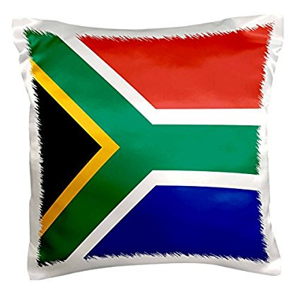 3dRose Flag of South Africa - Colorful red green blue black white yellow multicolor African world souvenir, Pillow Case, 16 by