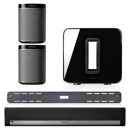 Sonos 5.1 Home Theater System with PLAY:1 Speakers, PLAYBAR with Wall Mount Kit, and