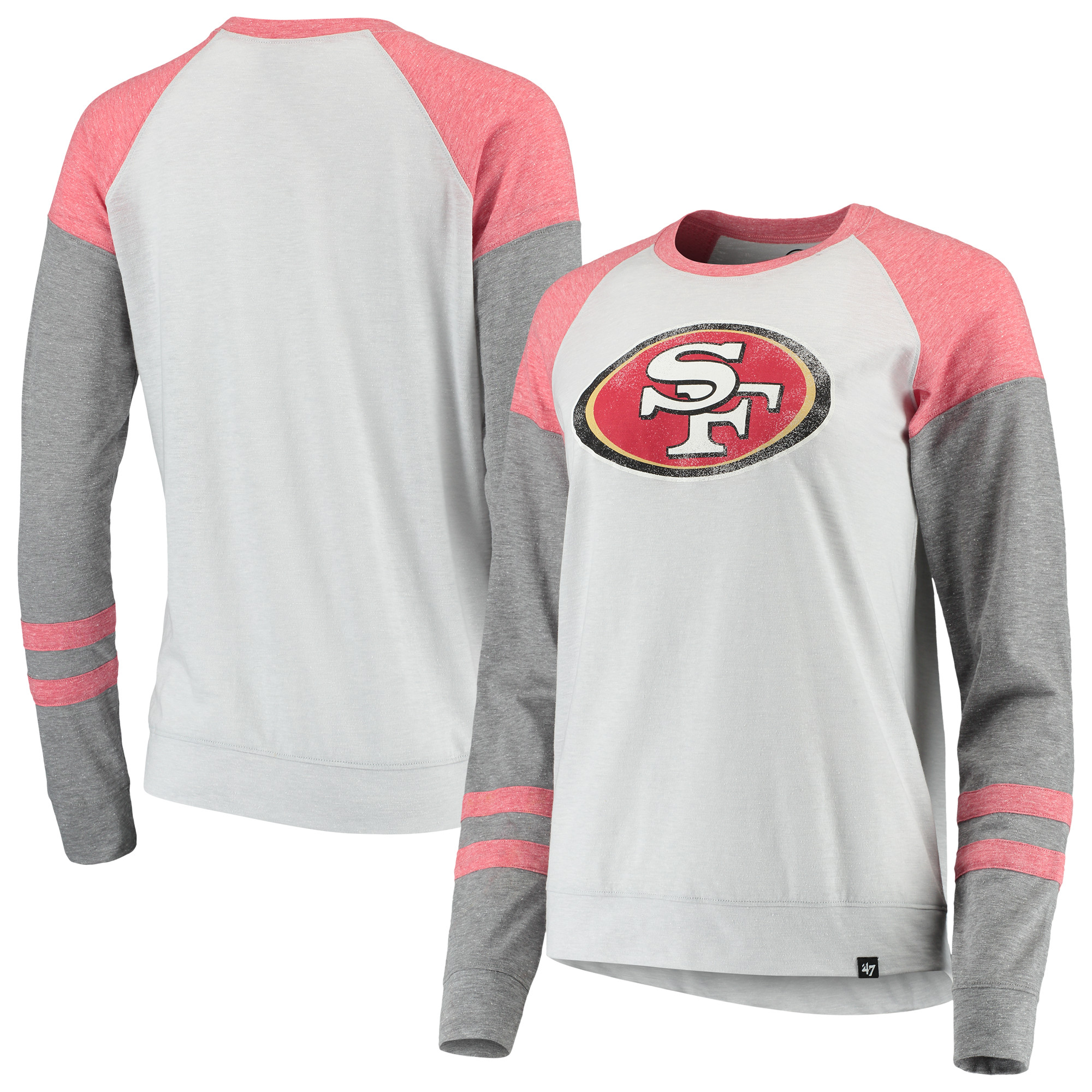San Francisco 49ers '47 Women's Match Distressed Raglan T-Shirt - Heathered Gray