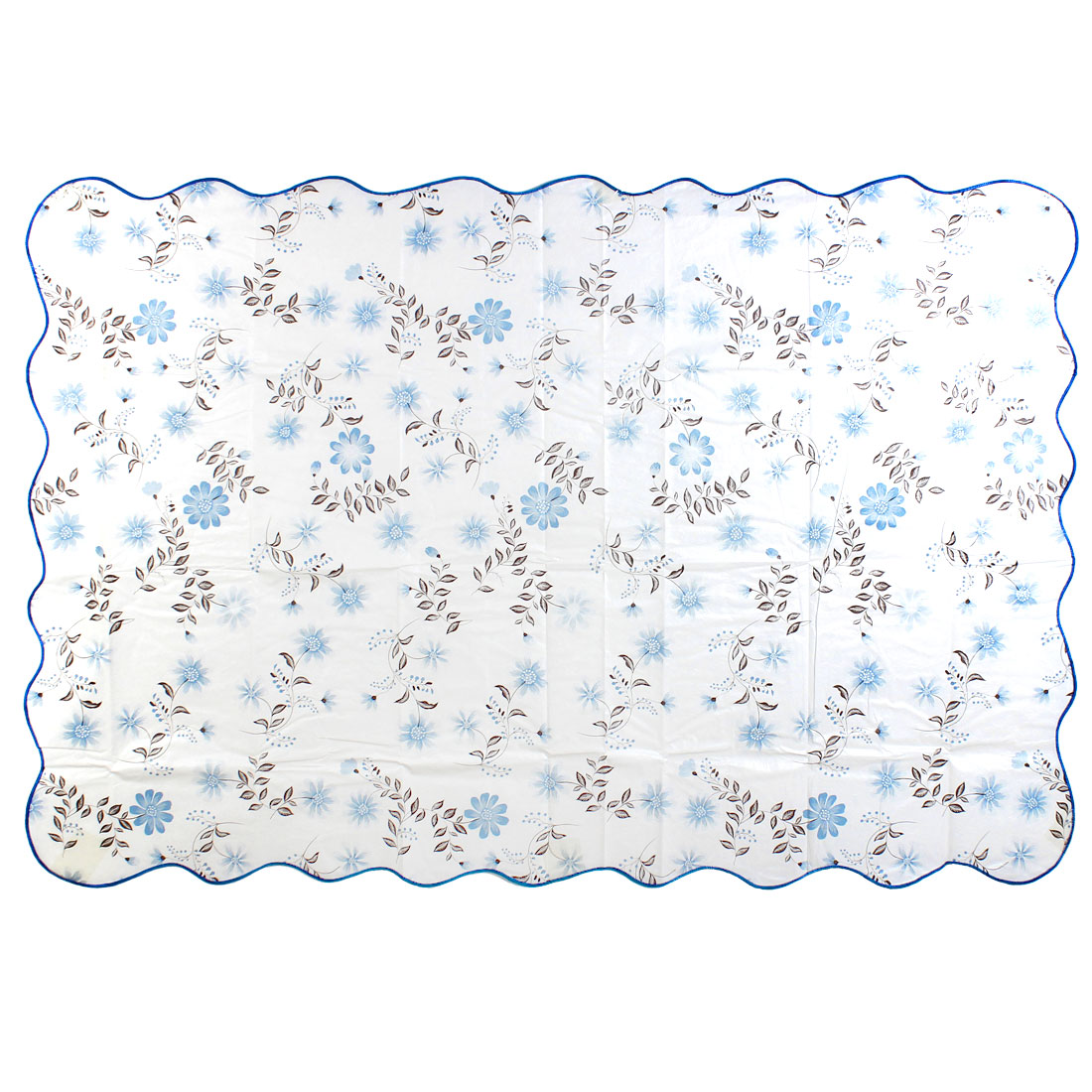 Unique Bargains Rectangle Shape Flower Pattern Tablecloth Table Cover Blue 152cm x 106cm