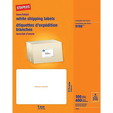 staples 3 1 2 x 5 inkjet laser shipping labels white 400 box