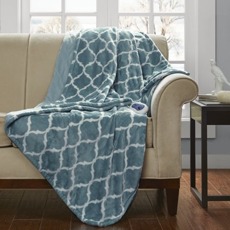 Beautyrest Heated Ogee Oversized Electric Throw Blanket, Aqua