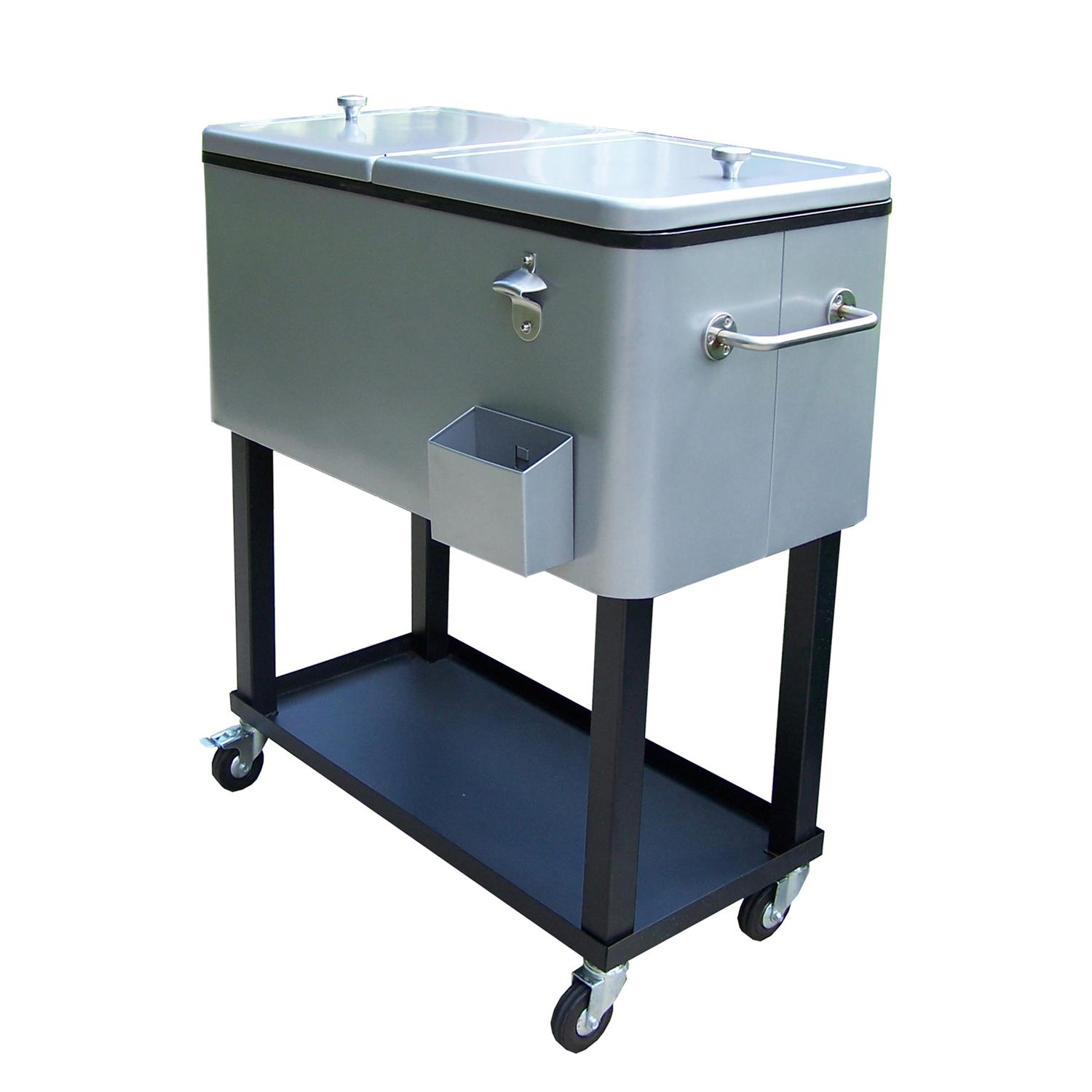 "35.5"" Silver Steel 20-Gallon Party Cooler Cart with Built in Bottle Opener"