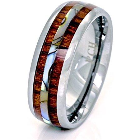 Tungsten Hawaiian Koa Wood and Abalone Ring 8mm Comfort Fit Band (15) - Koa Tone Wood