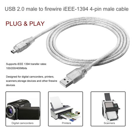 1.2m USB 2.0 Male To Firewire iEEE 1394 4 Pin Male iLink Adapter ...