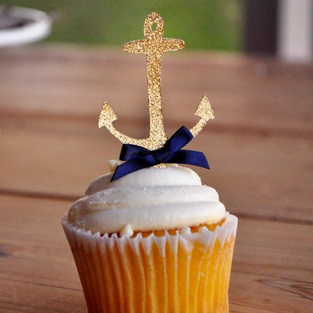 Anchor Cupcake Toppers.  Ships in 1-3 Business Days.  Nautical Baby Shower Decorations.   12CT. (Nautical Theme Baby Shower)