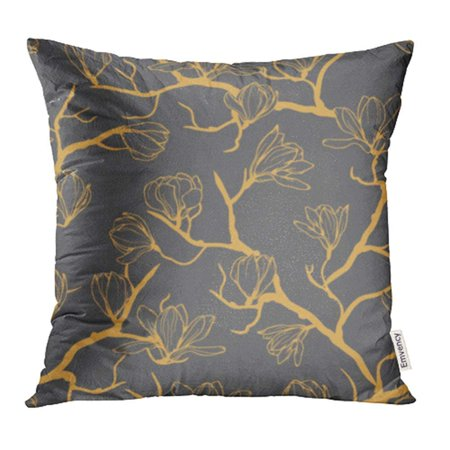 Magnolia Silhouette (ARHOME Black Simple Magnolia Flower Pattern Delicate Floral Spring Leaf Silhouette Pillowcase Cushion Cases 16x16)