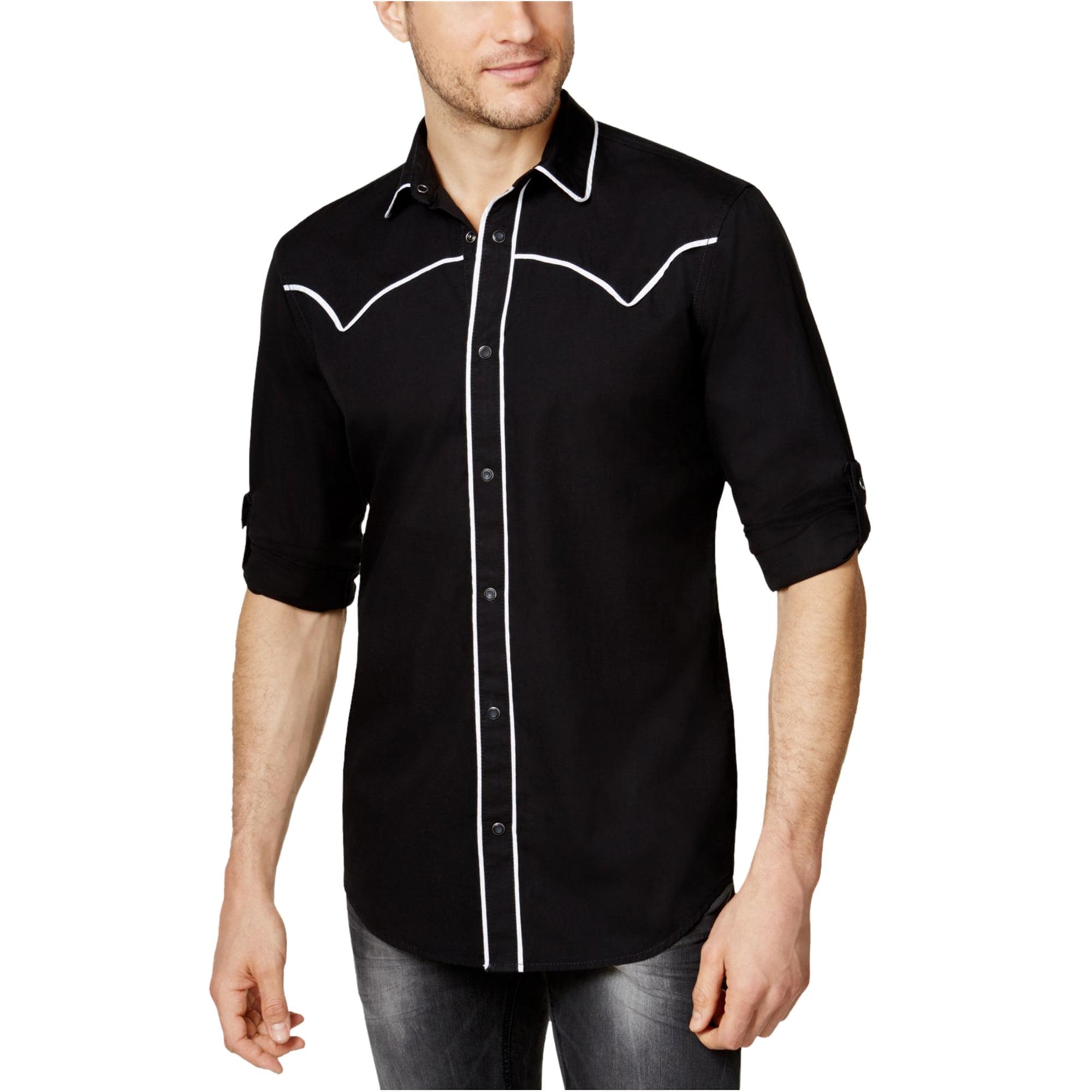 New Mens INC International Concepts Western Style Black Convertible Sleeve Shirt