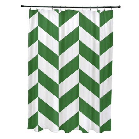 Mixed Chevron Geometric Pattern Shower Curtain Green