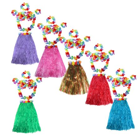 Pink Dress Costumes (Meigar 6Pcs Adult Hawaiian Grass Skirt Flower Hula Lei Garland Wristband Dress Costume Today's Special)