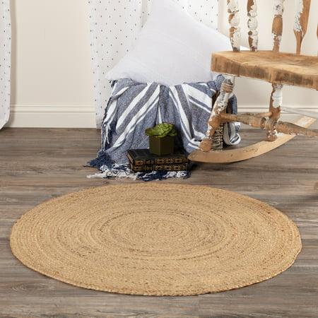 Natural Tan Modern Farmhouse Rustic Vintage Coastal Decor Flooring Halley Solid 100% Jute Round Accent Area Rug ()