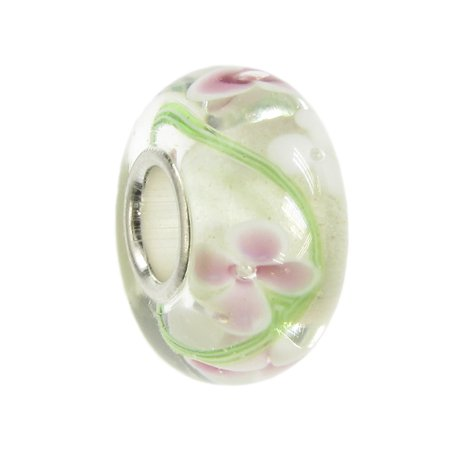 0275c22e0f2f4 Flower Glass Sterling Silver Core European Style Bead Charm Fits Pandora