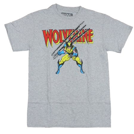 Hybrid - Wolverine Marvel Mens T-Shirt - Slashing Stance Under Red Name  Image (Large) - Walmart.com bc57da615