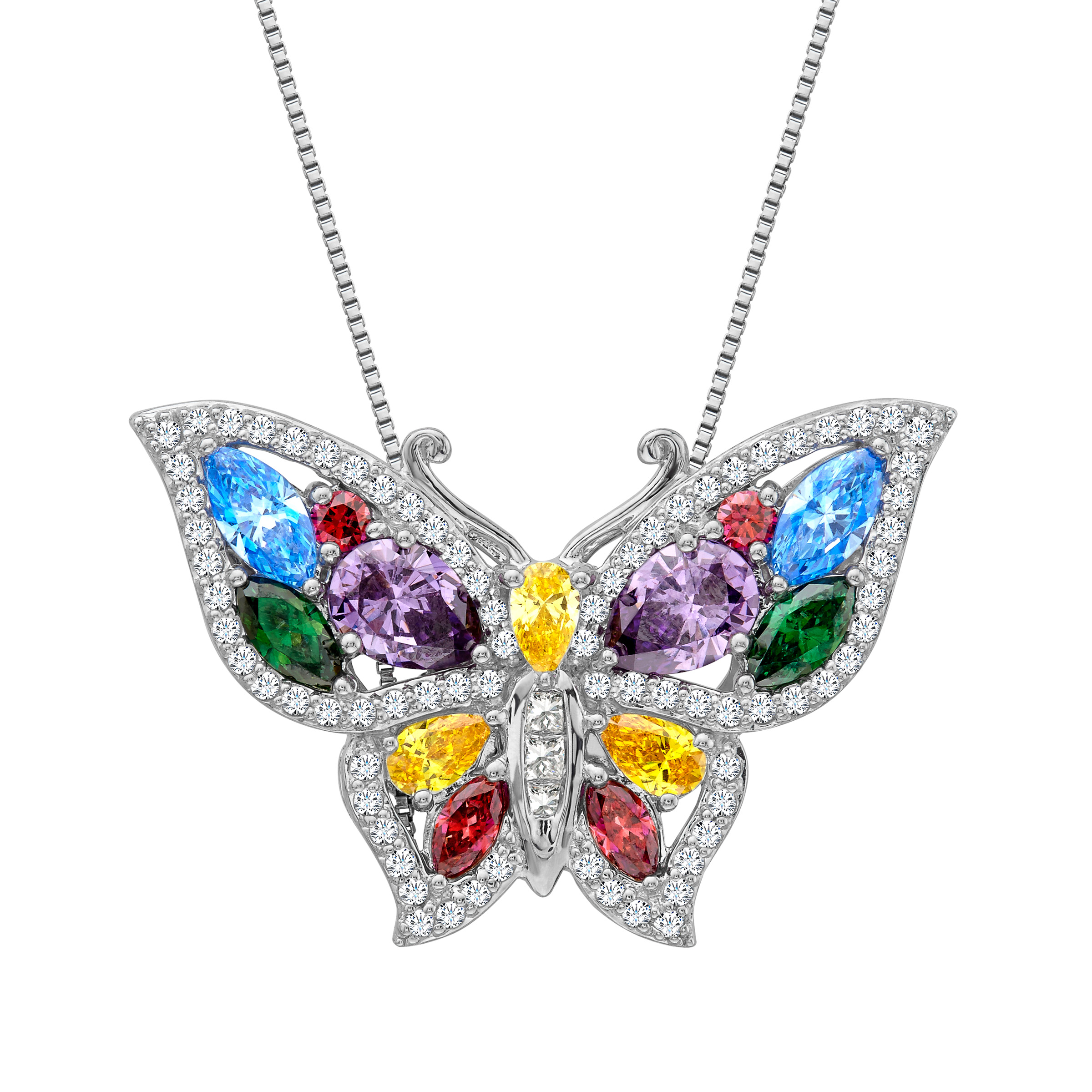 Butterfly Pendant Necklace with Multi-Color Cubic Zirconia in Sterling Silver