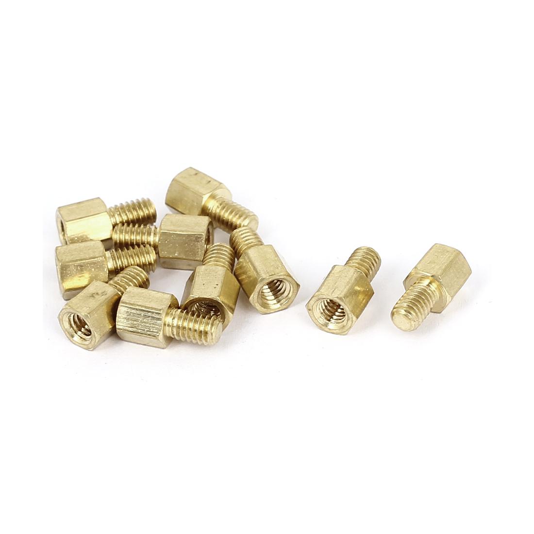 M4x6mm +6mm Filetage male à femelle 0.7mm entretoise espaceur hexagonale laiton Hauteur 10Pcs - image 2 de 2