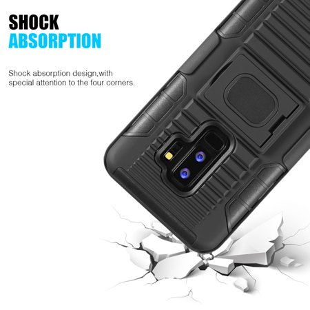 Samsung Galaxy S9 Plus Case, by Insten Mag Defender Shock Absorbing Dual Layer [Shock Absorbing] Hybrid Stand Hard Plastic/Soft Silicone Case Cover Holster For Samsung Galaxy S9 Plus, Black - image 4 de 5