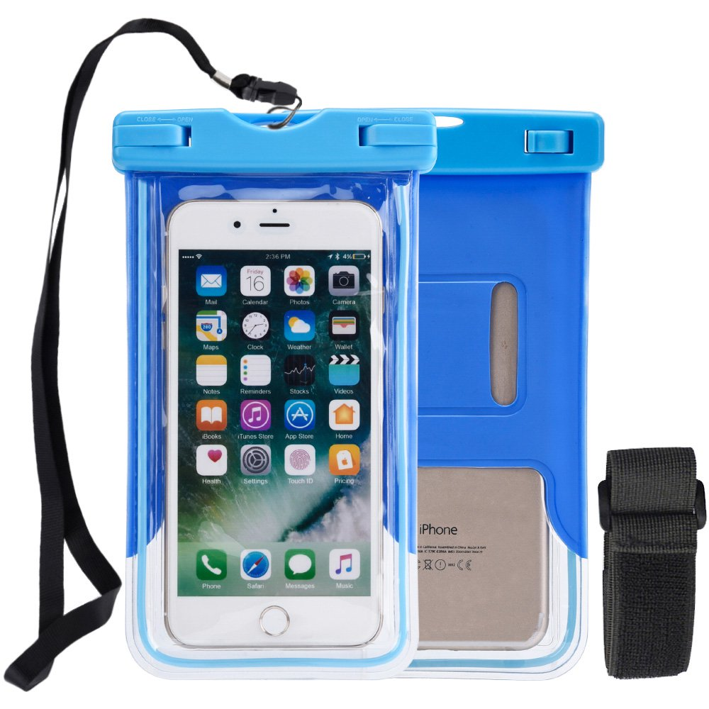 Universal Waterproof Case, Waterproof Phone Pouch Dry Bag for iPhone 6 6s 7 Plus Samsung galaxy s8 s7 Note 8 5 LG V20 Pixel - Blue, Lanyard, Armband, Touch Screen Friendly, Glow in Dark
