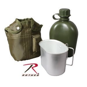 Rothco 3 Piece 1 Quart Canteen Kit With Cover & Aluminum Cup ()