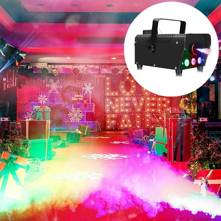 Party Light Machine (Peroptimist Fog Machine, 500W Portable Led Smoke Machine with Lights (Red, Blue, Green) and Wireless Remote Control for Christmas, Wedding, Parties, DJ Performance and Stage)