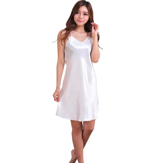 c3a20edca SNHENODA - SNHENODA Satin Silk Summer Pijamas Night Dress Nightwear Women  Nightgowns Sexy V-neck Sleepwear Sleeping Dress Red Nightdress White -  Walmart.com