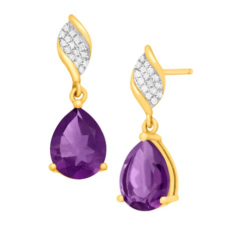 3 1/8 ct Natural Amethyst Drop Earrings with Diamonds in 10kt Gold