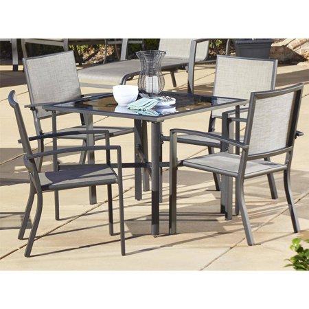 Cosco Outdoor 5 Piece Serene Ridge Aluminum Patio Dining Room Set Dark Brown