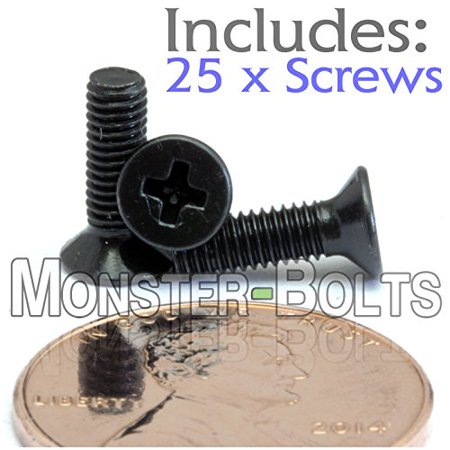 (25) M3-0.5 x 10mm - Phillips Flat Head Machine Screw (Countersunk) Class 4.8 Carbon Steel w Black Oxide Cross Recessed Type H Metric DIN 965 - MonsterBolts (25, M3 x 10mm)