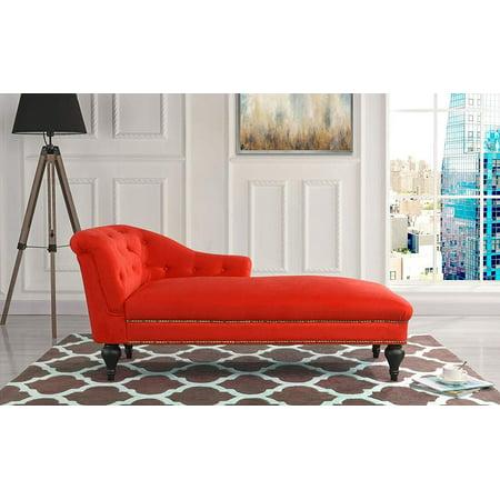 Elegant Velvet Chaise Lounge Living Room Bedroom (Red)
