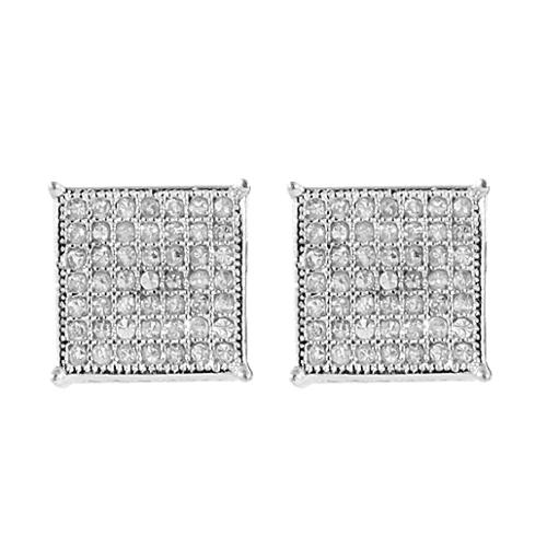 2.00 Ct Men's Sterling Silver Earrings White Cubic Zirconia CZ 10mm