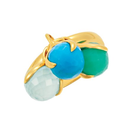Jewels By Lux 18K Yellow Gold Vermeil Chrys Turq & Aqua Blue Chalced Finger Size 07.00 Polished None (Turq Jewel)