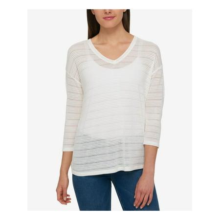 Tommy Hilfiger Womens Shadow Stripe Basic T-Shirt