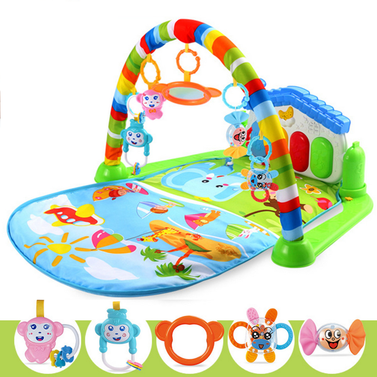 Baby Gym Fitness Playmat Lay Play Music Lights Fun Piano Activity Toy Christmas Gift 3 in 1 Newborn Baby Multifunction Play Mat Music Piano Fitness Gym Activity Mats