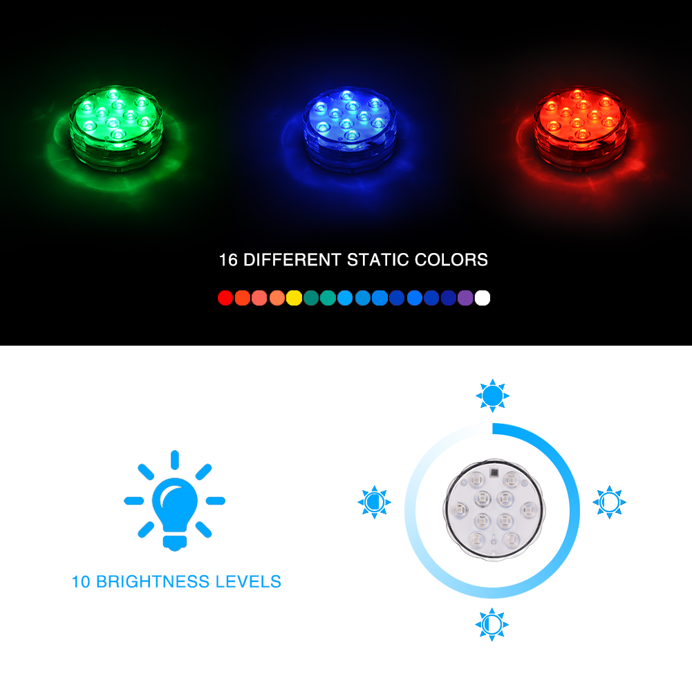 4 Packed Submersible Lights RGB Multi-color Water-resistant IP67 With Remote Control Floral Decoration for Aquarium Pond Vase Base Party Wedding Halloween Christmas Holiday Lighting