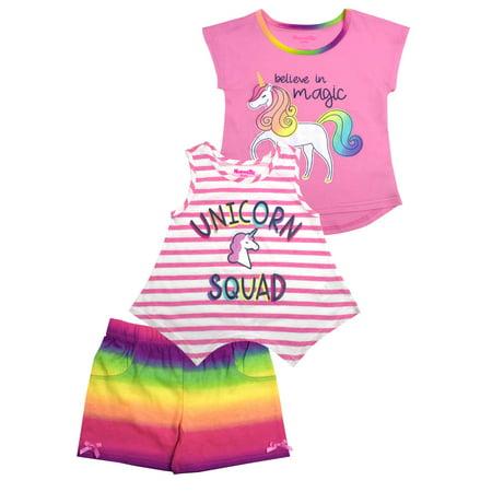 Unicorn Squad Tee, Tank and Short, 3-Piece Outfit Set (Little (Nannette 3 Piece)