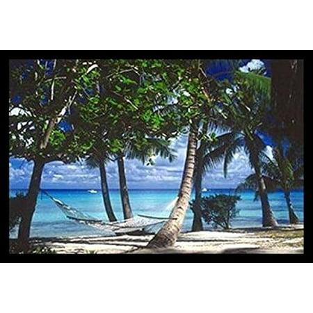 Framed Tropical Retreat By Beverly Factor 36X24 Photograph Art Print Poster Ocean Beach Hammock Relax
