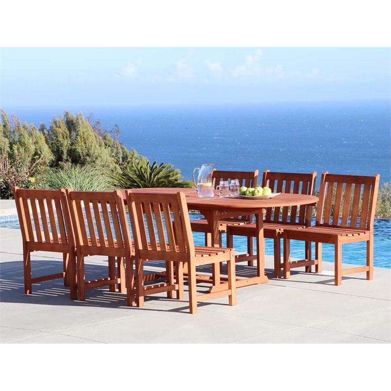 Vifah Malibu 7 Piece Extendable Oval Hardwood Patio Dining Set