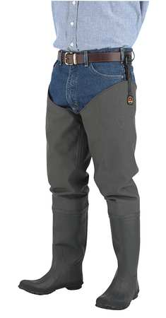 Proline Size 9 Plain Toe Hip Waders, Men's, Dark Green, 71101 9 by Proline