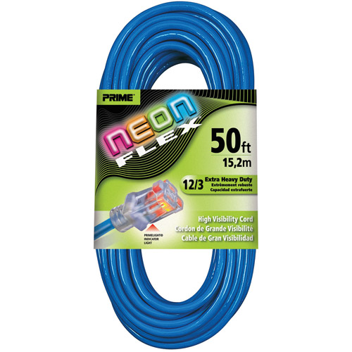 Prime Wire 50-Foot Flex Outdoor Extension Cord With Indicator Light, Neon Blue