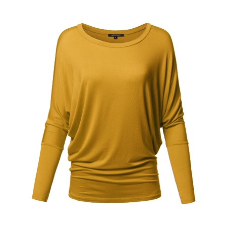 FashionOutfit Women's Casual Solid Boat Neck Long Dolman Sleeve Top - MADE in USA